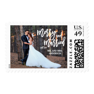 Merry and Married Hand Script | Holiday Photo Postage Stamp