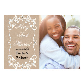 Merry And Married Kraft Paper Holiday Card