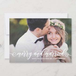 Merry and Married Modern Calligraphy Holiday Photo