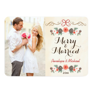 Merry and Married Pine Cone Photo Holiday Card