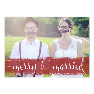 Merry and Married | Snowflakes Holiday Photo Card Personalized Invites