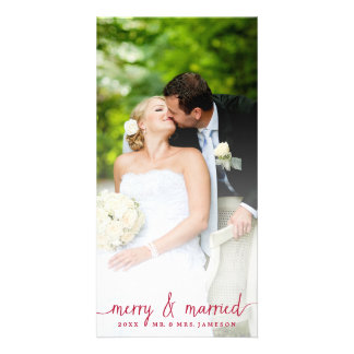 Merry and Married White Overlay Photo Card