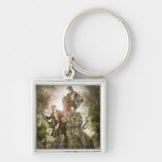 Merry and Peregrin on Treebeard Silver-Colored Square Keychain