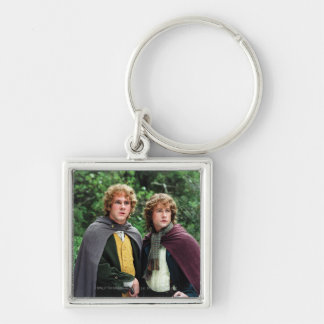 Merry and Peregrin Silver-Colored Square Keychain
