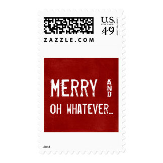 Merry and Whatever Ironic Christmas Postage Stamps