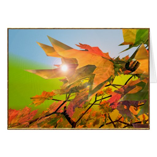 Merry Autumn Maple Leaves Cards