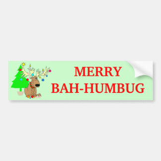 Merry Bah Humbug Reindeer Funny Christmas Bumper Sticker