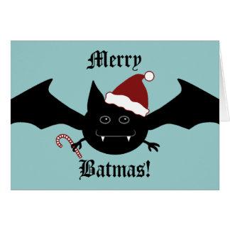 Merry Batmas silly gothic bat Greeting Cards