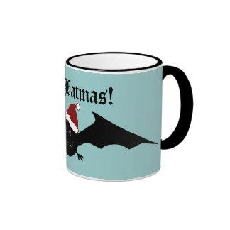 Merry Batmas silly gothic bat on blue Coffee Mugs
