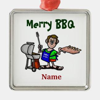 Merry BBQ Man Cooking Ribs Christmas Ornament