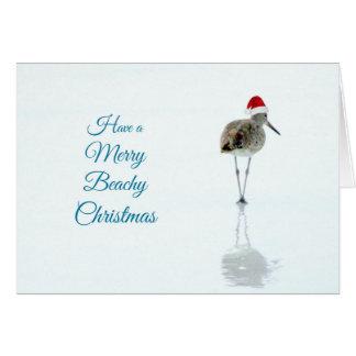 Merry Beachy Sandpiper Christmas Card