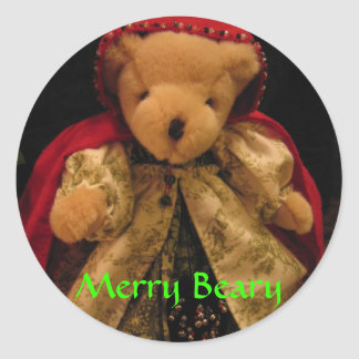 Merry Beary Christmas Classic Round Sticker