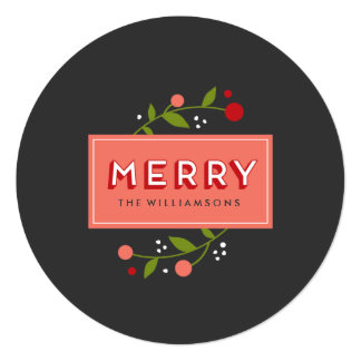 Merry Berries Floral Ornament Holiday Card