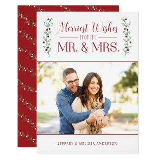 Merry Berries   Newlywed Christmas Photo Card