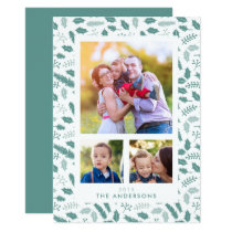 Merry Berry 3 Photo Christmas Green Flat Card