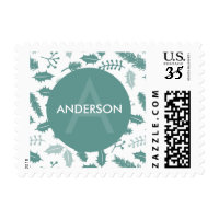 Merry Berry Personalized Green Holiday Christmas Postage