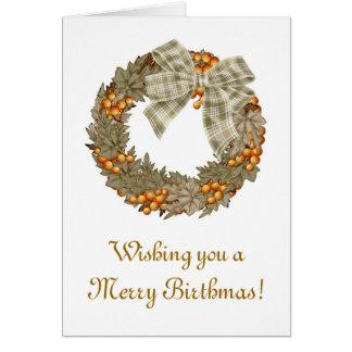 Merry Birthmas Birthday Christmas combined Card