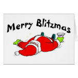 Merry Blitzmas Drunk Santa Greeting Card