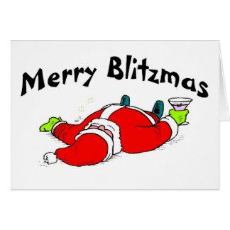 Merry Blitzmas Drunk Santa Greeting Card