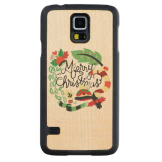 Merry Blue Christmas Carved® Maple Galaxy S5 Case