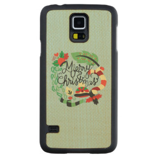 Merry Blue Christmas Carved® Maple Galaxy S5 Slim Case
