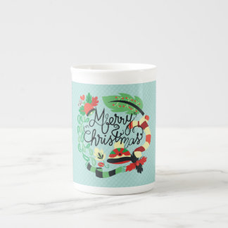 Merry Blue Christmas Tea Cup