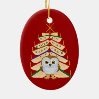 Merry Bookmas Double-Sided Oval Ceramic Christmas Ornament