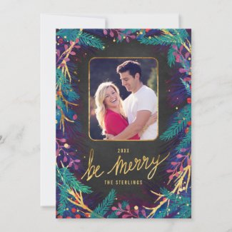 Couples Christmas Merry Botanicals Holiday Photo Card