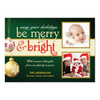 Merry & Bright 2-Photos Holiday Flat Card