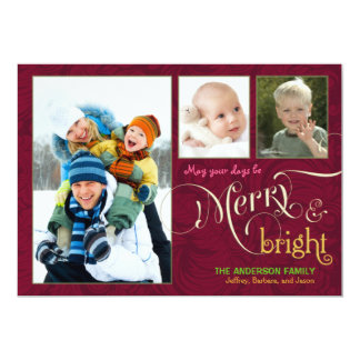 "Merry & Bright 3-Photo Flat Card Cranberry Red 5"" X 7"" Invitation Card"