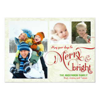 "Merry & Bright 3-Photo Flat Card White Red 5"" X 7"" Invitation Card"