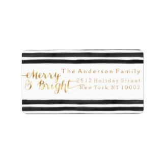 Merry & Bright black stripes address label