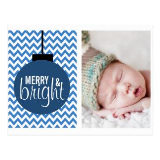 MERRY & BRIGHT BLUE CHEVRON HOLIDAY CARD POSTCARDS