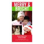 Merry bright bold red green Christmas greeting Custom Photo Card