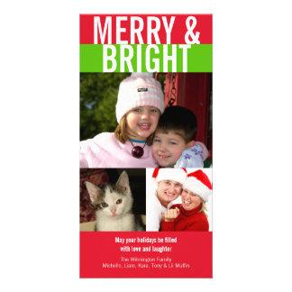 Merry bright bold red green Christmas greeting Custom Photo Card