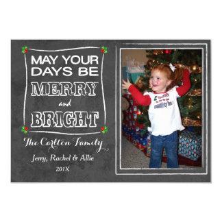 Merry & Bright Chalkboard Christmas Photo Card