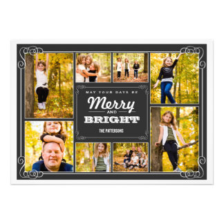 Merry Bright Chalkboard Collage Photo Card