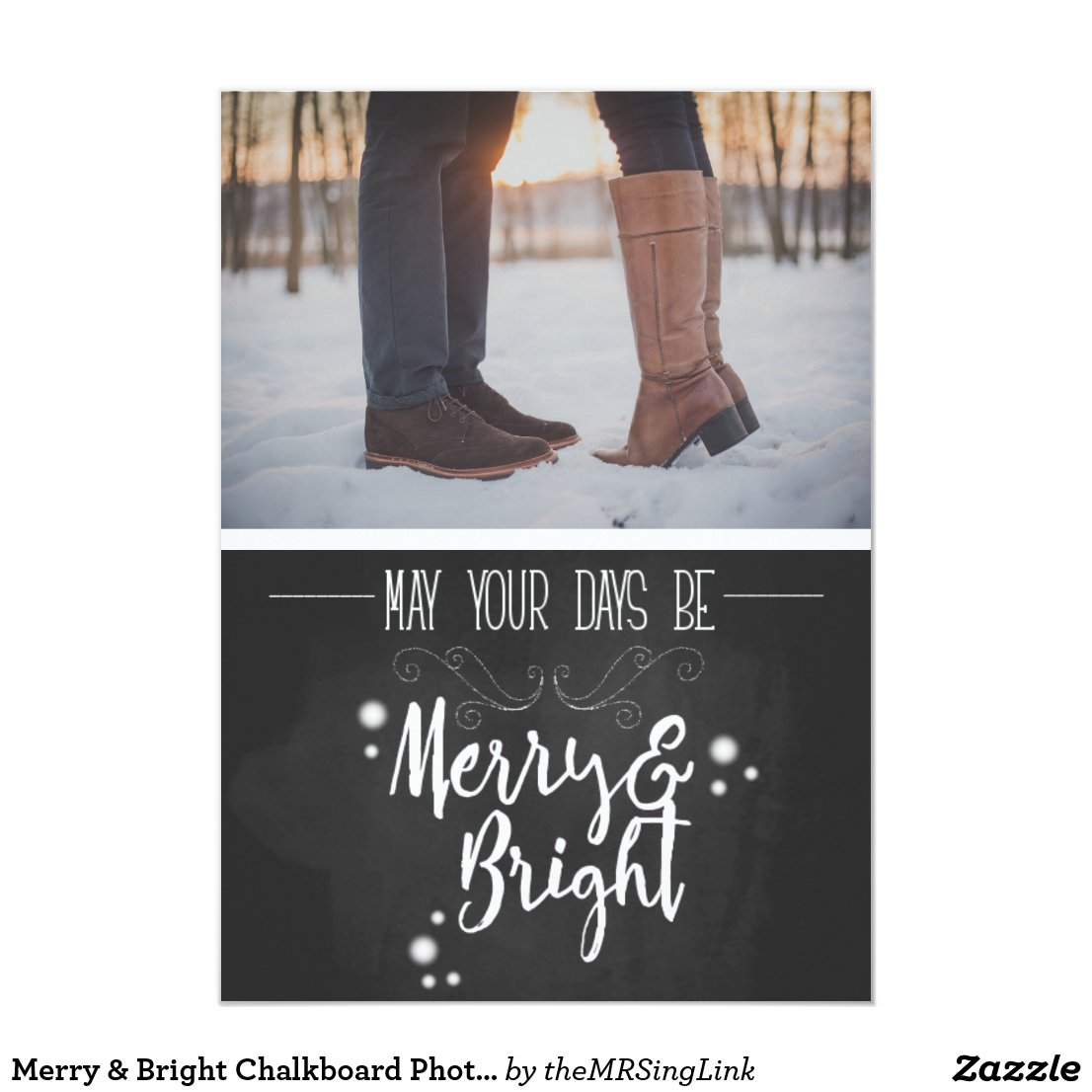 Merry & Bright Chalkboard Photo Holiday Card