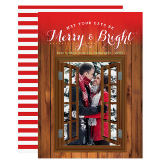 Merry Bright Christmas Cherry Wood Faux Window Card