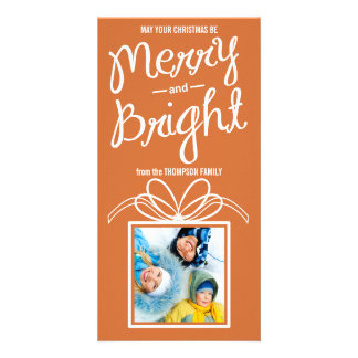 Merry & Bright Christmas Holiday Photo Card-rustic