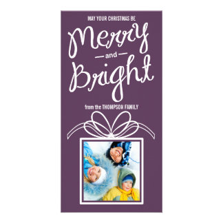 Merry & Bright Christmas Holiday Photo Card-zinfan Card