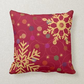 Merry & Bright Christmas Holiday Snowflake Bendel Throw Pillow