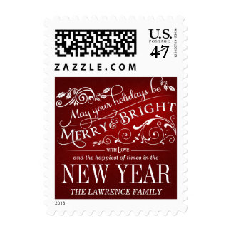 Merry & Bright Christmas Holiday Typography Postage
