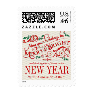 Merry Bright Christmas Holiday Typography Postage