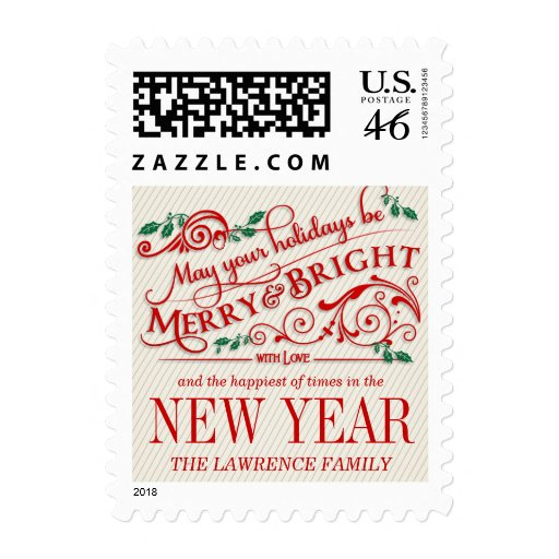 Merry&Bright Christmas Holiday Typography Postage