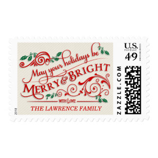 Merry &Bright Christmas Holiday Typography Postage