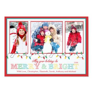 Merry & Bright Christmas Lights 3 Photo Greeting 5x7 Paper Invitation Card