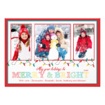 Merry & Bright Christmas Lights 3 Photo Greeting Invite