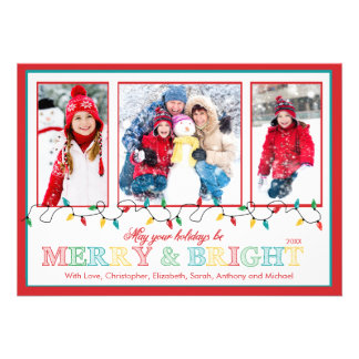 Merry Bright Christmas Lights 3 Photo Greeting Invite