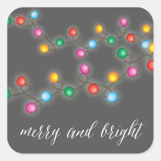Merry & Bright Christmas Lights Holiday Sticker